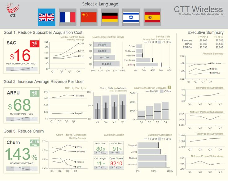 A dashboard for a telecommunications wireless company show three goals and KPIs as well as an executive summary.