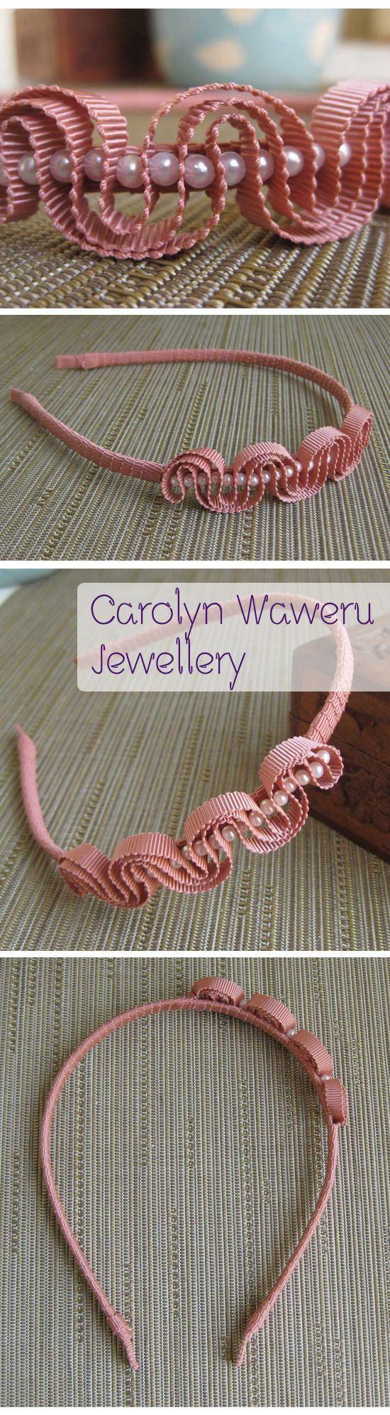 Diadema para la cabeza con cinta rosa ondulada y perlas  -   pink ribbon rippled with pearls on a headband: