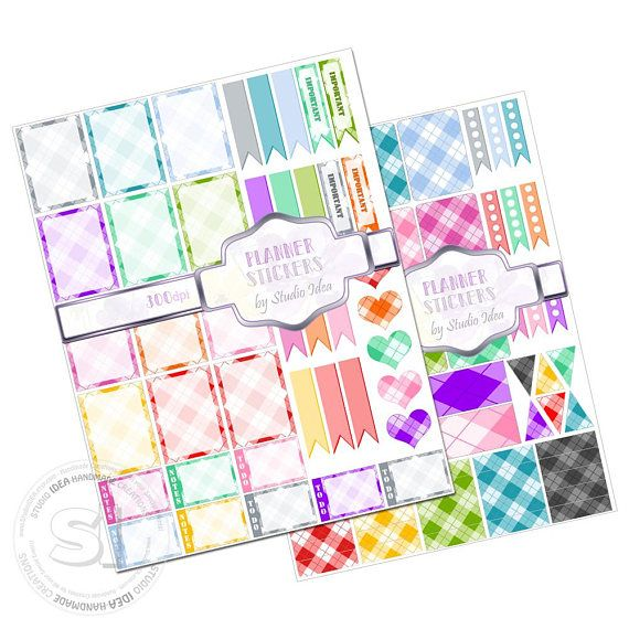 Printable Planner stickers 300dpi Colorful Checker Planner