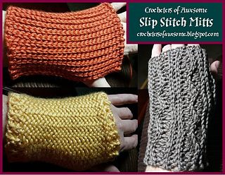 """Very simply fingerless mitts made from a square in three different slip stitches, Back Loop Only (BLO), Inverse Back Loop Only (iB)/Front Loop Only (FLO) also known as """"flat stitch"""", and Back Loop Only (BLO) with taller stitches to create a textured wave."""