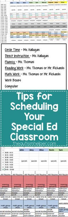 Helpful Tips & Steps for Scheduling Your Special Education Classroom Today on the Blog! Great practical tips to think about as you head back to school.  Read more at:  http://theautismhelper.com/tips-scheduling-special-ed-classroom/