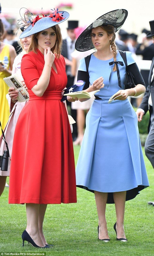Chic sisters Princesses Beatrice and Eugenie arrived at Ascot with the royal family despit...
