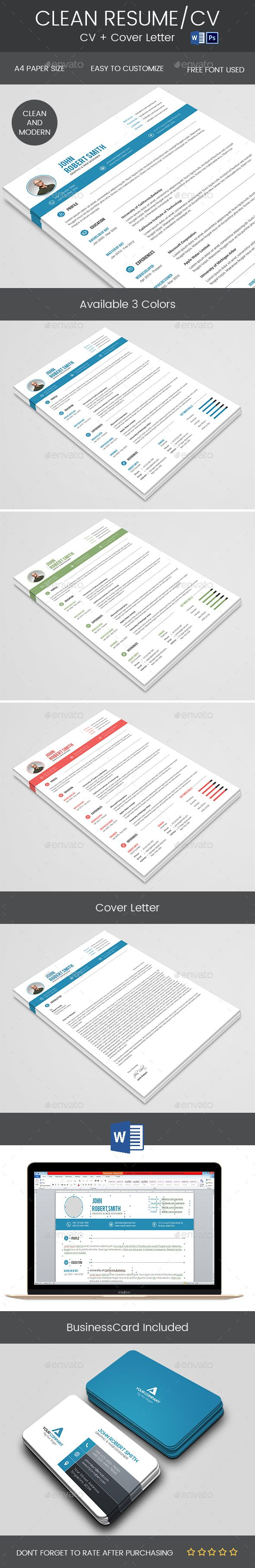 Clean Resume u0026 Cover Letter 1552 best