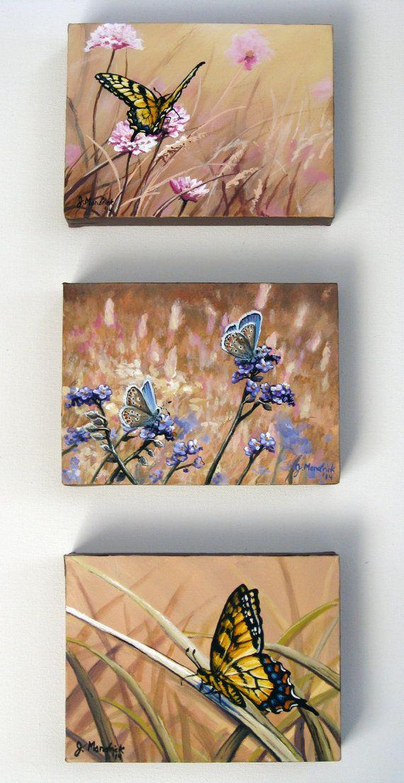 Original 6x8 (3-piece set) Butterfly Painting on Canvas by J. Mandrick