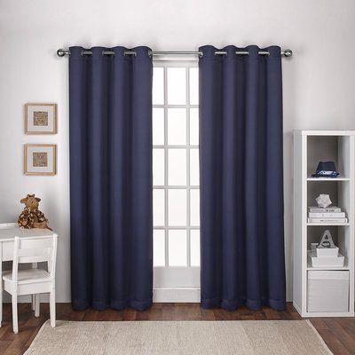 viv rae tamara kids blackout grommet top window textured woven curtain panels color navy