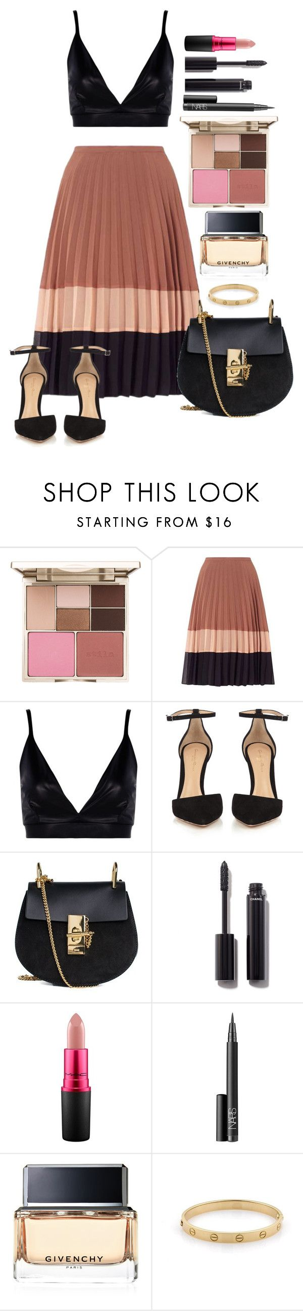 """""""Untitled #1648"""" by fabianarveloc on Polyvore featuring Stila, Miss Selfridge, Boohoo, Gianvito Rossi, Chloé, Chanel, MAC Cosmetics, NARS Cosmetics, Givenchy and Cartier"""