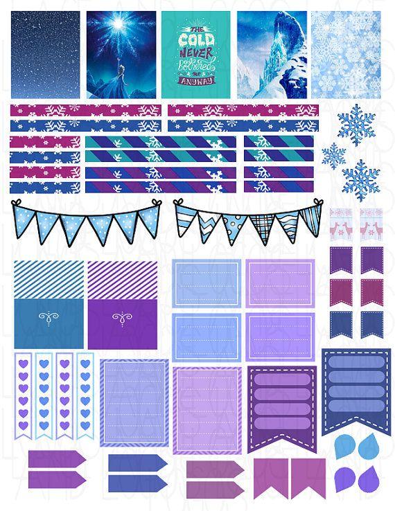 Printable Planner Stickers Erin Condren Ice Queen by LaceAndLogos