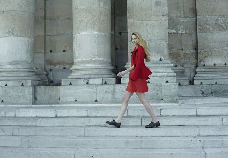 NAOT - LAKO Black Combo (Lifestyle Image) #NAOT #footwear #shoes #orthoticfriendly #brogue #laceup #style #footwear #fashion #comfort #paris #leather #littlereddress