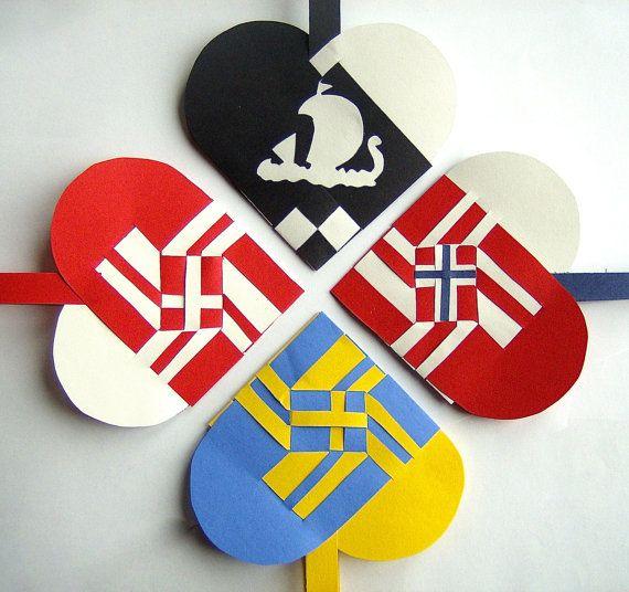 SET OF 4 Vikings Woven Heart Decoration or Christmas Ornament Nordic Scandinavian Traditional Paper Julehjerter