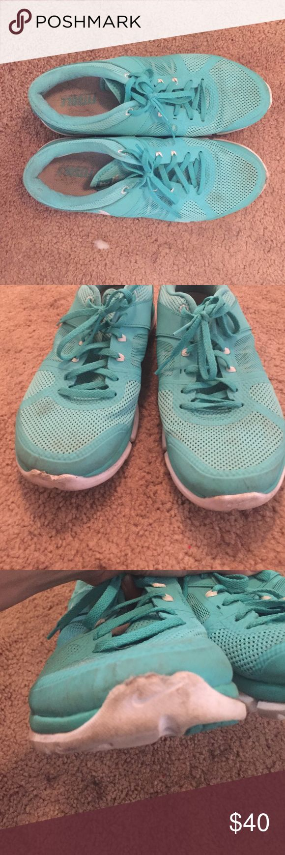 Nike tiffany blue tennis shoes running gym size 9 Pre-loved Nike running pro sports shoes. Size 9. very comfortable. I have worn them running outside which is why they are a bit scuffed up but they are in otherwise good condition and I love the turquoise blue color! Nike Shoes Athletic Shoes