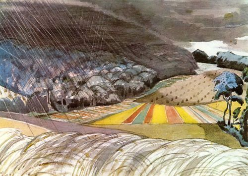 Paul Nash, Sudden Storm (1918)....I love how he tells all these pleasant and appealing story's with his work ,the viewpoint is sublime , just to imagine, he was there painting this back then ,i cant believe it .Don't tune of yet there's better to come !!!