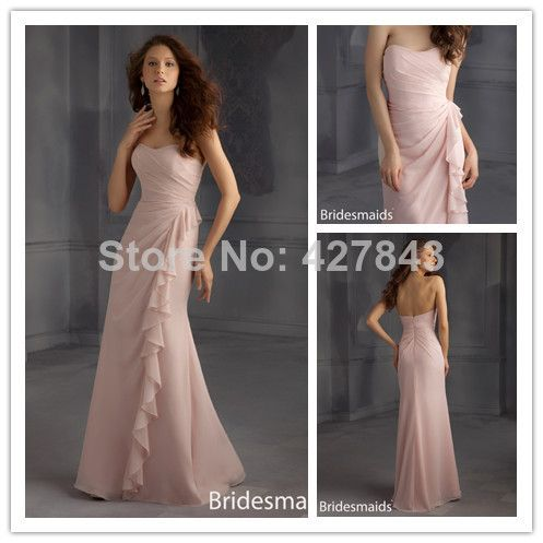 Chiffon Ruched A-line Floor Length Strapless Long Blush Pink Bridesmaid Dress 2014 Wedding Party Dress US $129.00