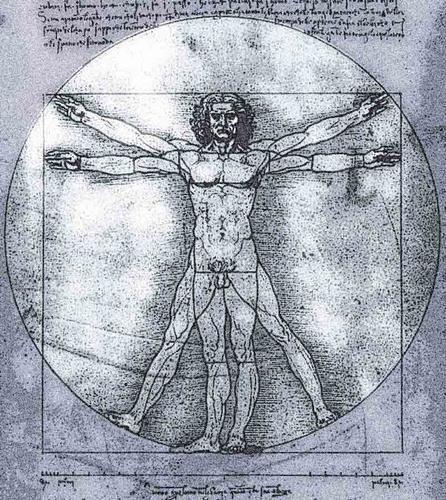 'El+hombre+Vitrubio'+::+Leonardo+da+Vinci <BR> <BR>El+Hombre+de+Vitruvio+es+un+famoso+dibujo+acompañado+de+notas+anatómicas+de+Leonardo+da+Vinci+realizado+alrededor+del+año+1492+en+uno+de+sus+diarios.+Representa+una+figura+masculina+desnuda+en+dos+posiciones+sobreimpresas+de+brazos+y+piernas+e+inscrita+en+un+círculo+y+un+cuadrado.+También+se+conoce+como+el+Canon+de+las+proporciones+humanas. <BR> <BR> <BR>Anális...