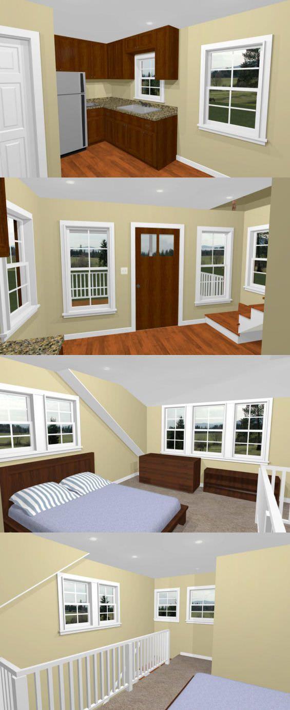 14x14 Tiny House 14x14h1c 399 Sq Ft Excellent Floor Plans Tiny House House Tiny House Living
