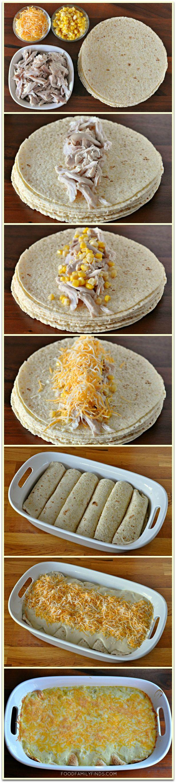 Easy and Creamy White Chicken Enchiladas