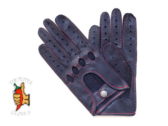 Men's navy lambskin leather driving gloves red by paprikastory