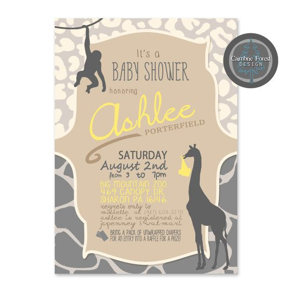 Custom Baby Shower INVITATION DESIGN Jungle by CaimbrieForest, $18.00 safari jungle baby shower boy girl neutral, several options