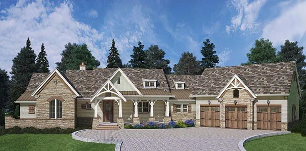 House Plan Craftsman European Traditional Plan With - Craftsman house plans with 3 car garage