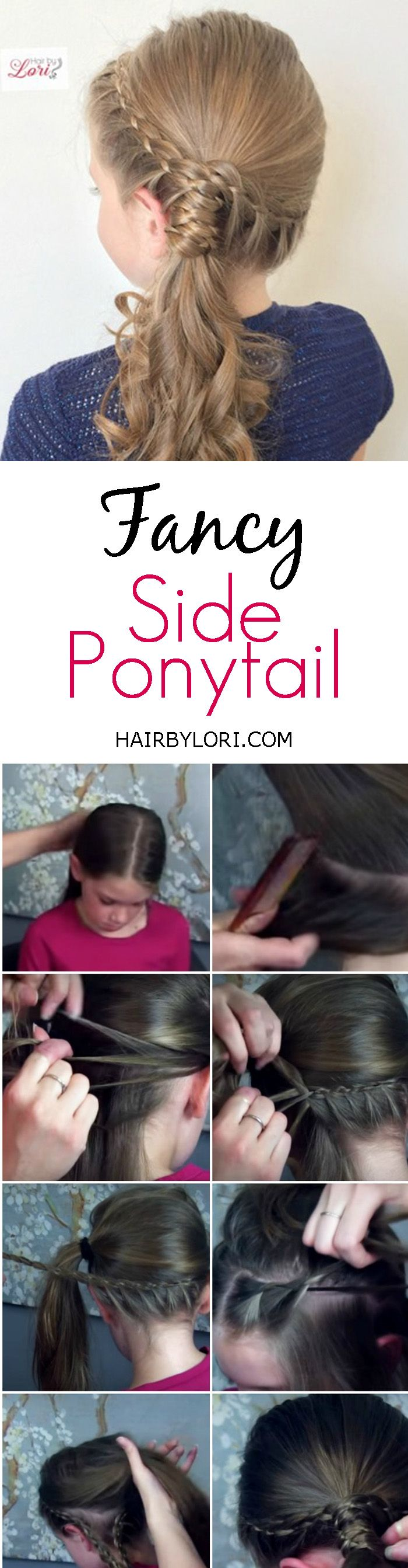 Video Tutorial: Fancy Side Pony. Quick every day style for all ages. Curl hair to dress it up even more.