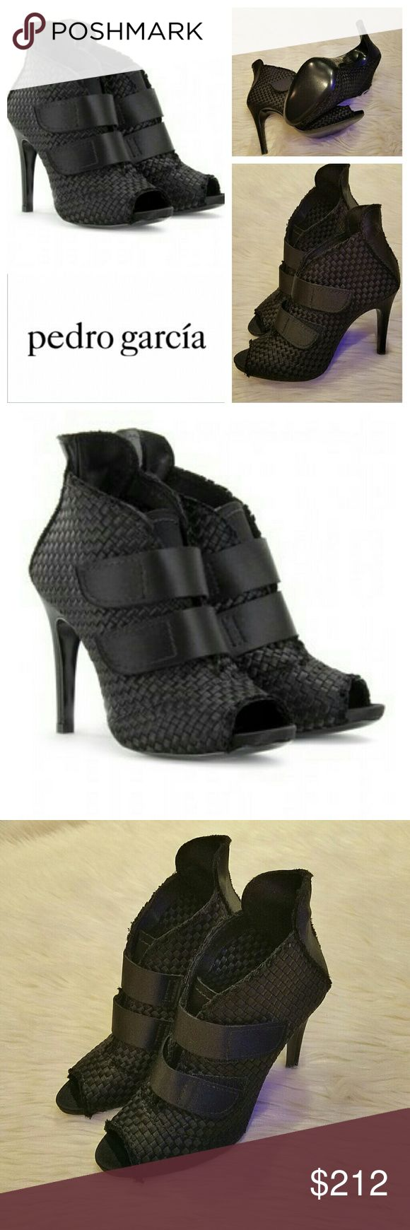 New $595 PEDRO GARCIA Woven Satin Bootie Shimmery woven black satin bootie from the current collection of Pedro Garcia. Amazing shoe that looks great with any outfit! Beautiful frayed trim, perp toe, solid bands fasten at vsmp. Leather sole. Made in Spain. Ultra Feminine! Brand New, no box. Size 40/10 runs small.  Retails for  $595 Pedro Garcia Shoes Ankle Boots & Booties
