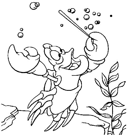 sebastian play games coloring pages for kids printable little mermaid coloring pages for kids - Little Mermaid Coloring Book