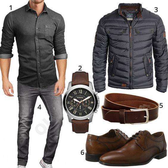 Graues Herren-Outfit mit Hemd, Winterjacke und Jeans (m0610)