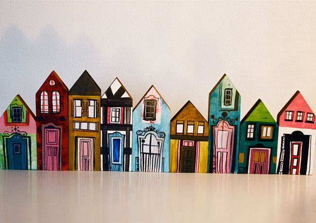 Hand painted wooden houses