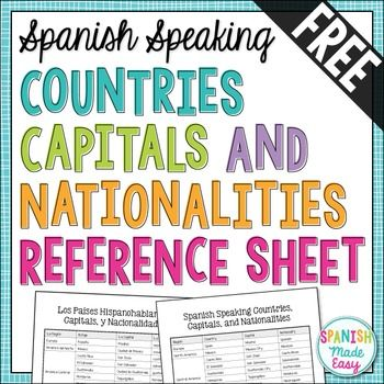 This is a reference sheet of the 21 Spanish-speaking countries, their capital cities, and nationalities. There are two reference sheets, one in English and one in Spanish.Countries included: Espaa, Mxico, Costa Rica, El Salvador, Guatemala, Honduras, Nicaragua, Panam, Cuba, La Repblica Dominicana, Puerto Rico, Argentina, Bolivia, Chile, Colombia, Ecuador, Paraguay, Per, Uruguay, Venezuela, and Guinea EcuatorialYou may also like:Spanish Countries, Capitals, and Nationalities BundleFlags of…