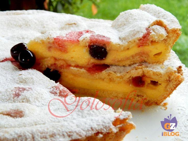 Torta con crema pasticcera e amarene-ricetta torte-golosofia