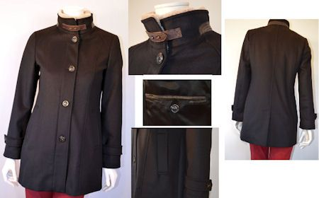 Schneiders Salzburg Sydney Woman`s Loden Coat with Lambswool Trim Style 32766 in BLACK. Schneiders Salzburg, Sydney cashmere and wool loden coat with removable lambswool trim, leather details, full zip behind front button closures. Inside buttoned pocket. Two front pockets. Belted detail at cuff. True fit. Back vent. Made 100% in Austria.