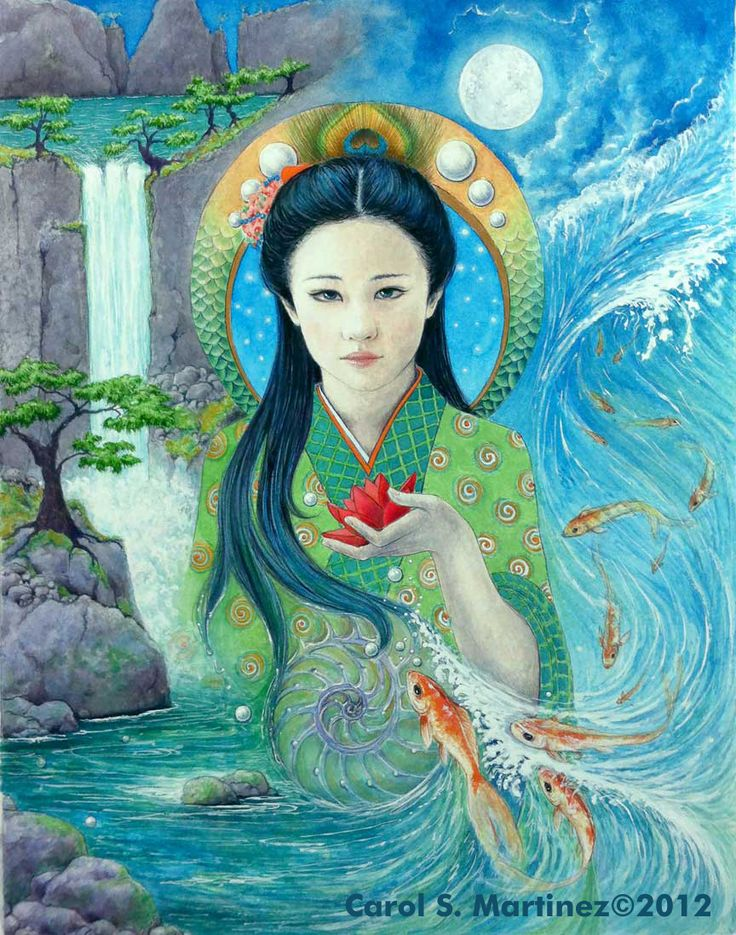 Quan Yin, Goddess of Compassion, Watercolor on paper, carolsmartinez©