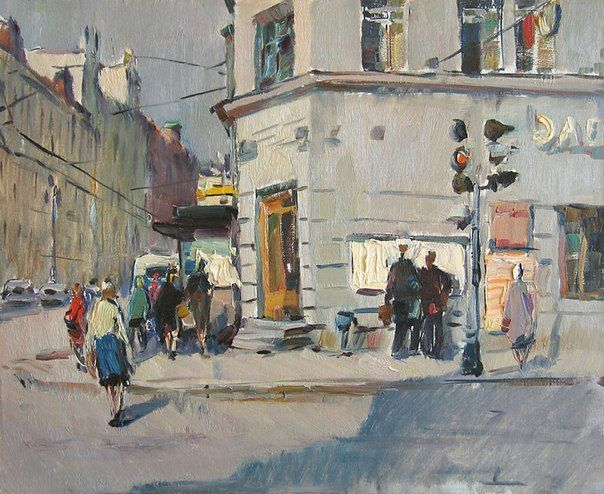 Александр Семёнов. На Староневском проспекте. 1968. Холст, масло.