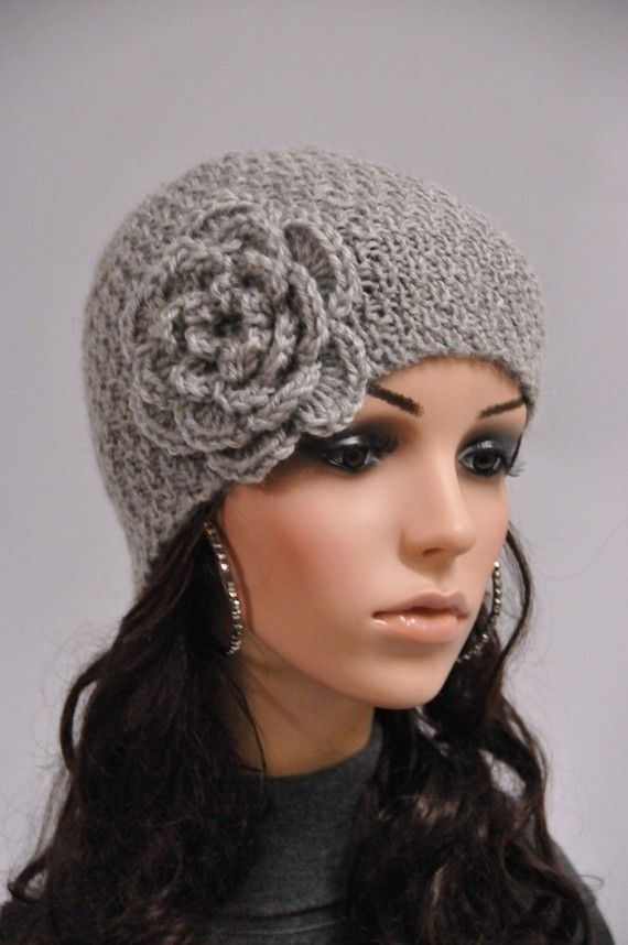 Hand knit beanie wool hat with crochet flower in grey on Etsy, $30.00
