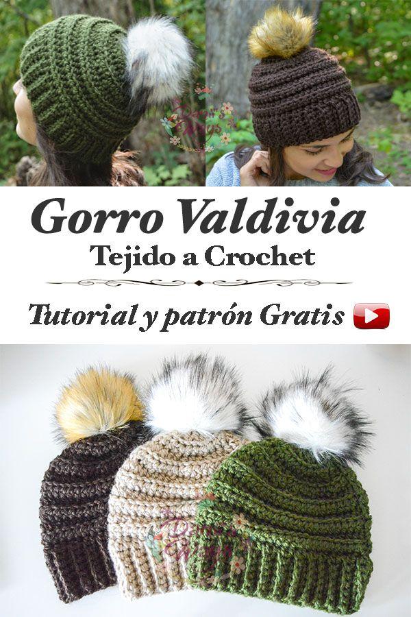 Precioso gorro Valdivia tejido a Crochet, tutorial y patrón, paso a ...