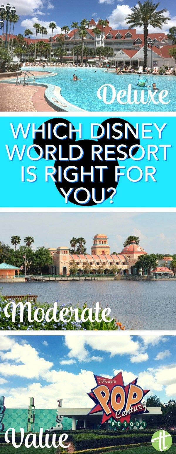 Walt Disney World Resorts: How to choose between value, moderate, deluxe, and deluxe villa hotels on your next Orlando, Florida vacation.