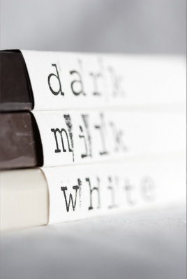 Chocolate descriptions with scrapbook paper, and stenciled print. So cool!