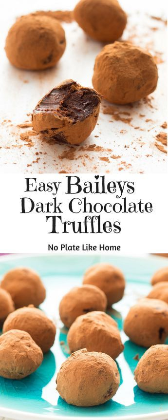 These Dark Chocolate Truffles are easy-to-make with only 5 ingredients. Baileys Irish Cream and coffee liquor give these truffles a great flavor and the heavy cream makes them smooth. Pin for later. #yummy #dessert #delicious #valentinesday #chocolatetruffles #recipe #foodie #foodies