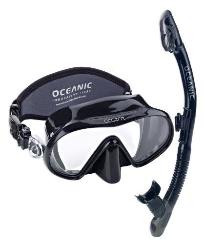 Oceanic Accent Mask UtraDry Snorkel Set, Black. Lightweight, uniquely styled Soft-Touch frame. Easy-to-adjust, swiveling buckles. Tempered glass lenses. Designed to be exactly what its name suggests, the ULTRA DRY snorkel incorporates Oceanic's patented Dry Snorkel Technology into an ultra-low profile product that is ergonomically designed for comfort and function. Highest grade, ultra-soft 100% liquid silicone skirt for a positive seal and long life. Patented Dry Snorkel Technology...