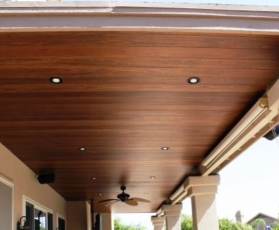 Wood patio ceiling love this home pinterest wood for How to hang lights on patio ceiling