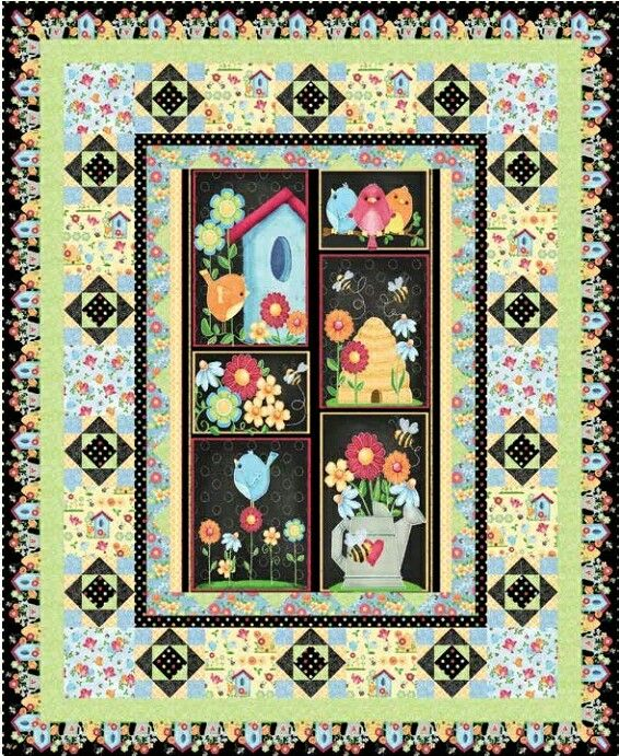 birds n bees quilt kit fabric from henry glass co