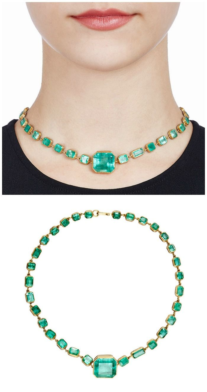 Judy Geib's Colombian emerald Rivière necklace with 66.73 cts of bezel-set ...