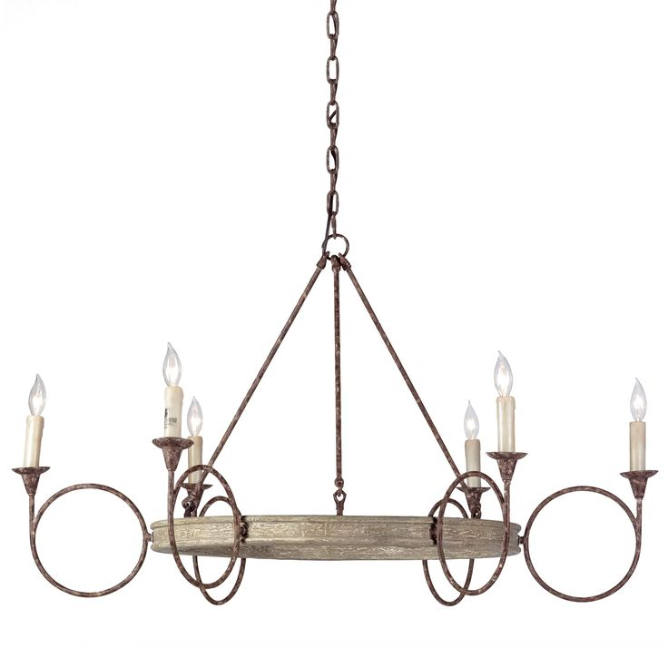Large circles in antique finished rust and white washed wood create a geometric look find this pin and more on chandeliers