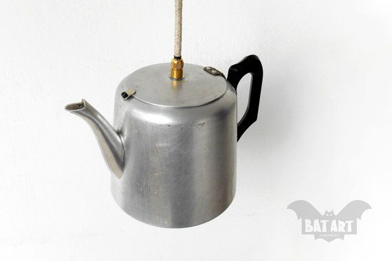 Tea Pot Pendant Light  Vintage Tea pot  Lighting Fixture by BatLab
