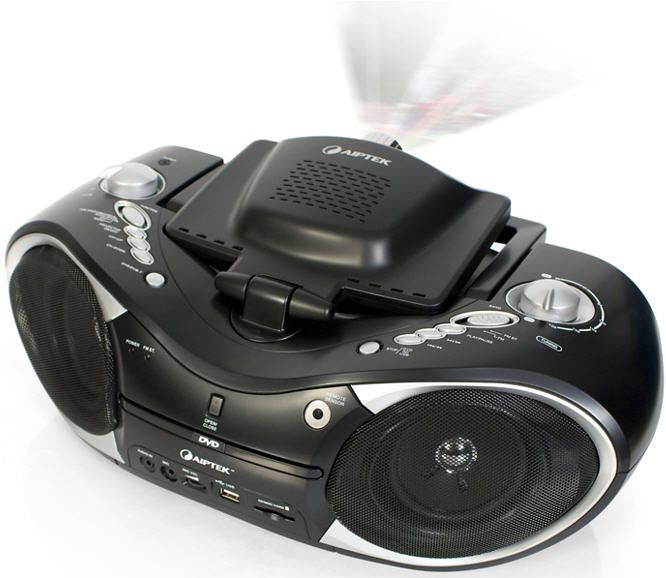 Aiptek Boombox DVD Projector All-In-One Entertainment System 80s-Style