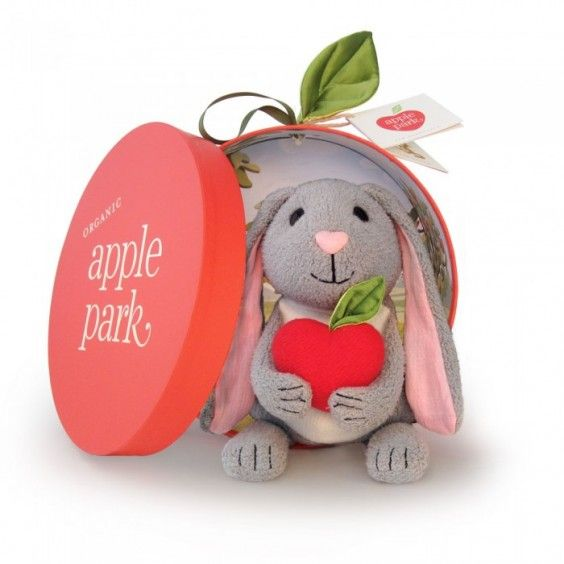 This Organic Bunny Picnic Pal from Apple Park is a plush, non-toxic cuddly friend who features a cute rattling apple love heart. He comes in a beautiful apple tree cardboard box made from recycled materials and finished with a silky leaf and handle, which can be kept to put your bunny to sleep or to store other treasures #ApplePark #giftideas #Christmas2014