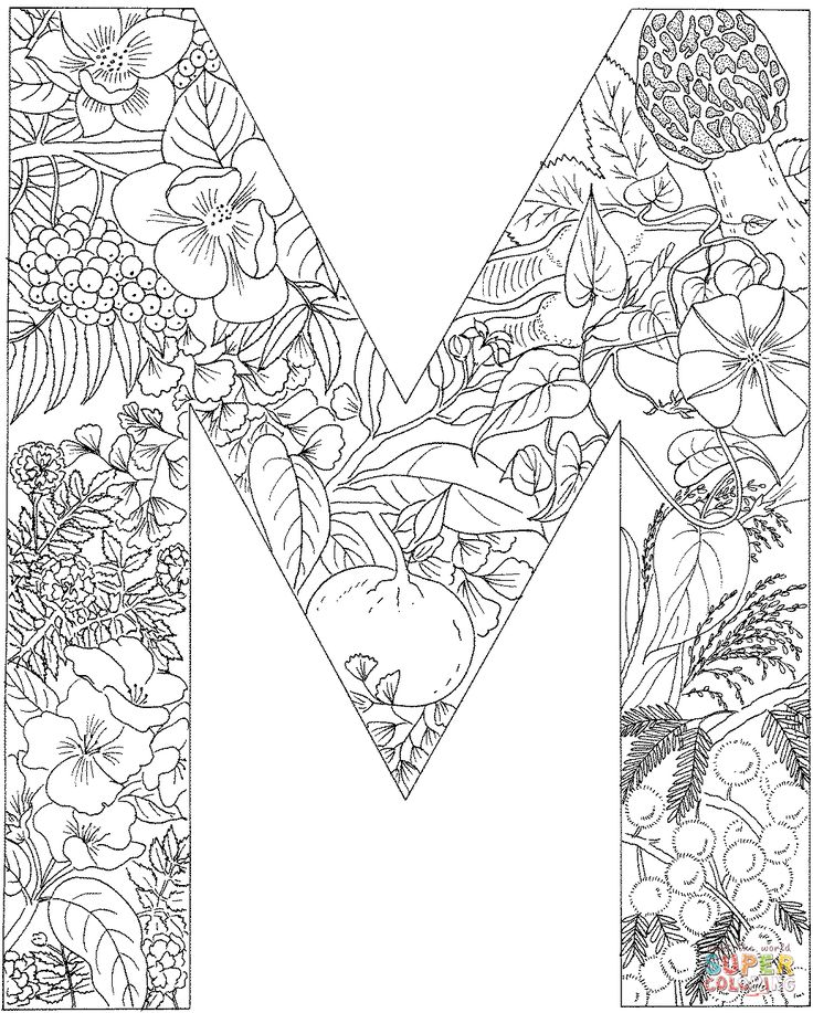 letter m with plants coloring page | free printable