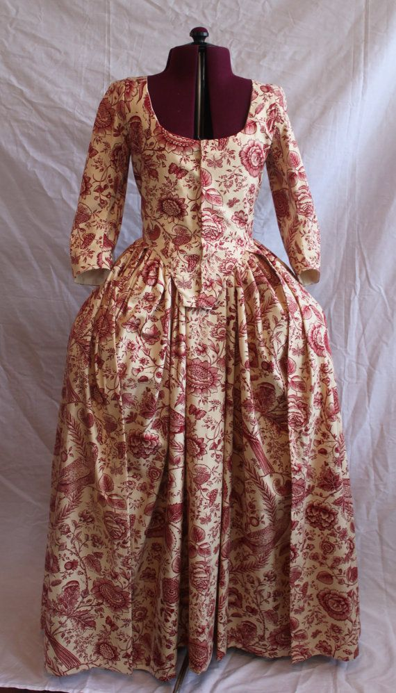 1770s Ladies Cotton Chintz Gown & Petticoat by Nicole Rudolph