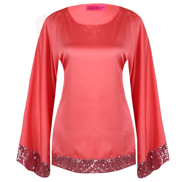 "Beautiful butterfly satin tops with sequins in 6 colours. Can be matched with skirts, pants or jeans. Free size S M L Price: S$25 Measurement (when laid flat): Length 27"", Bust 20"", Waist 22""."