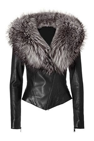 Ladies Leather Jacket With Fur Collar