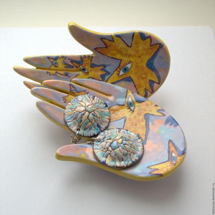 """Купить Серьги керамические """"Зимние деревья"""" - голубой, серьги из керамики, керамические серьги, зимние деревья"""